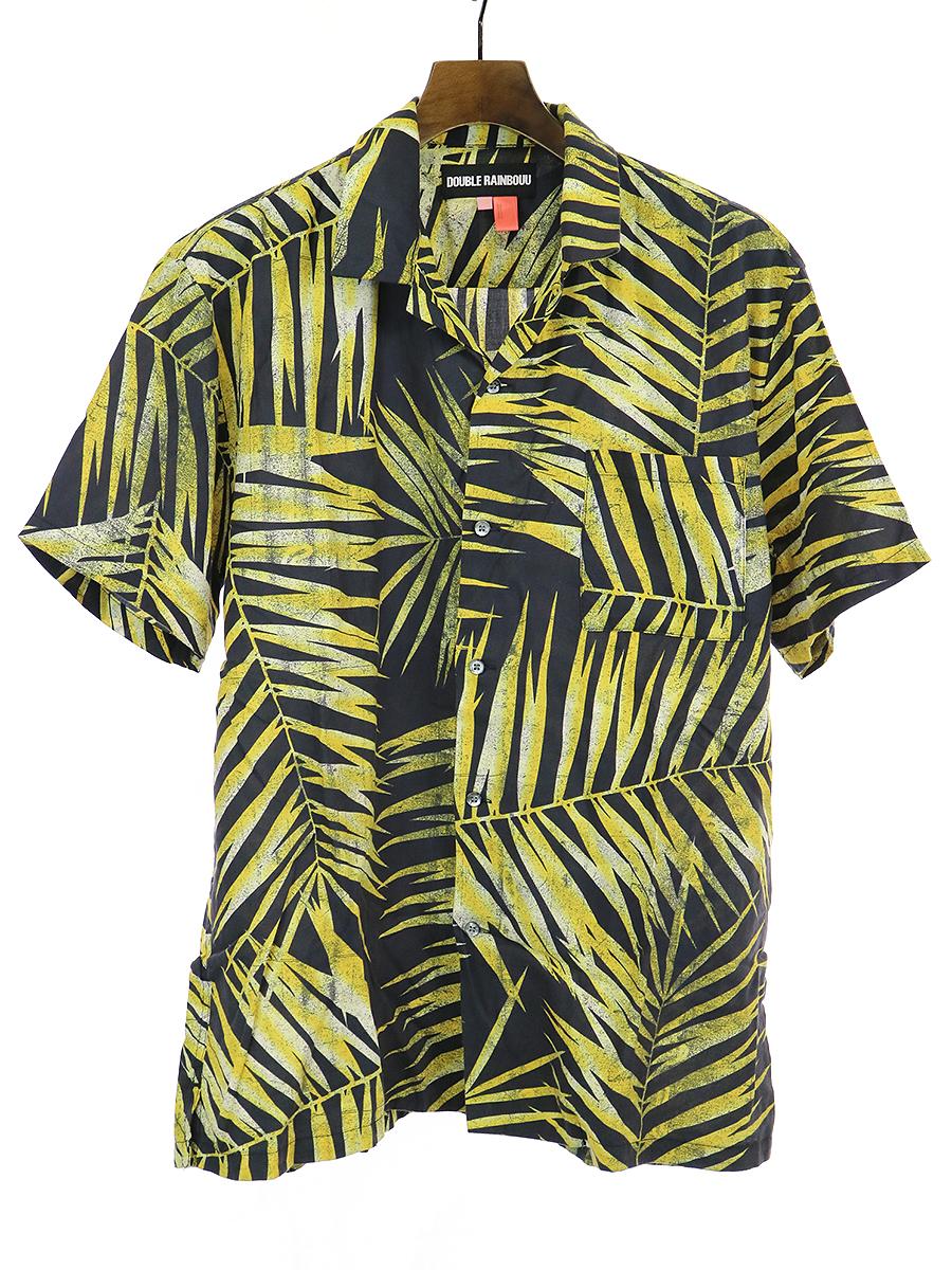【中古】DOUBLE RAINBOUU ダブルレインボー 19SS TIGER PALM HAWAIIAN SHIRT タイガーパームハワイアンシャツ イエロー S メンズ