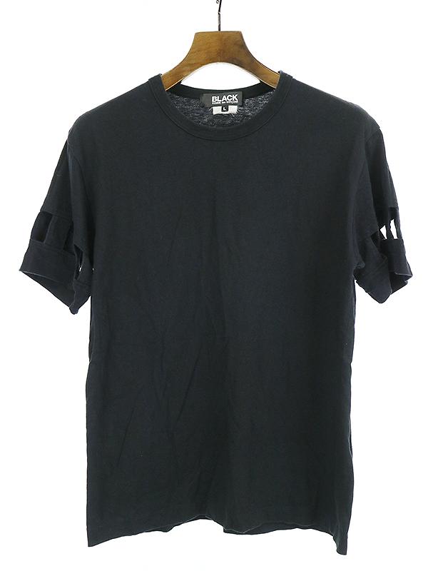 【中古】BLACK COMME des GARCONS ブラック コムデギャルソン 13SS カッティングデザインクルーネックTシャツ ブラック L メンズ