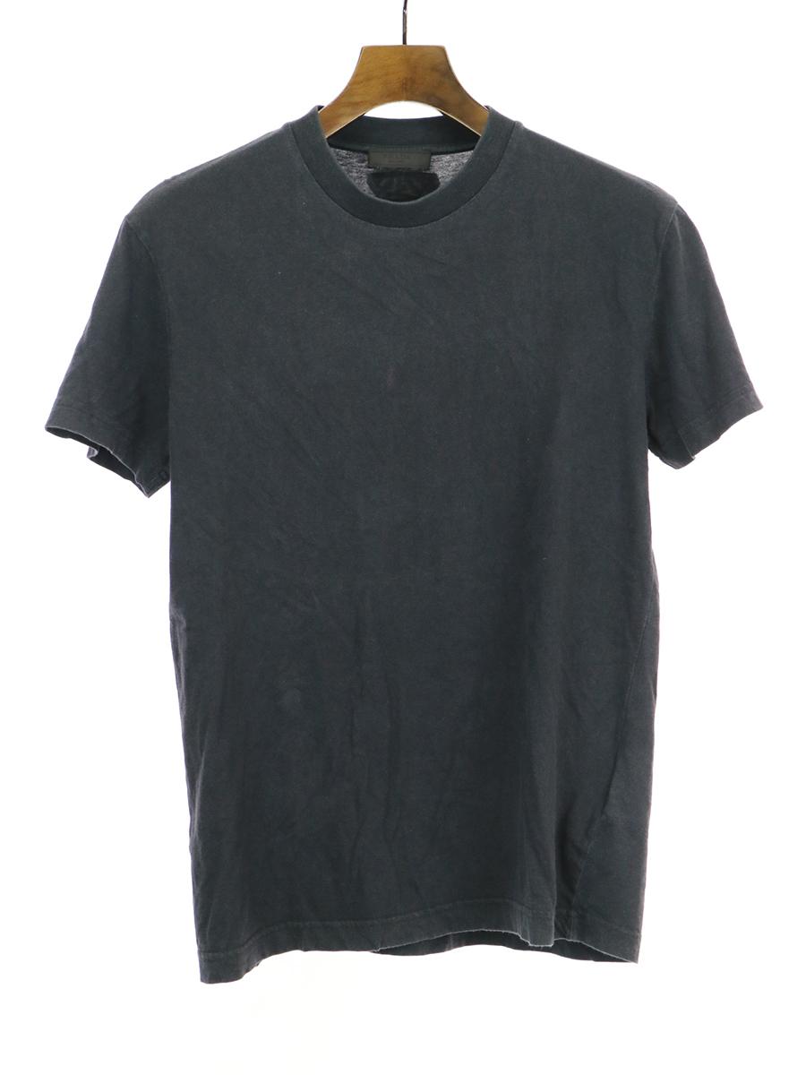 【中古】PRADA プラダ コットンクルーネックTシャツ ブラック S メンズ