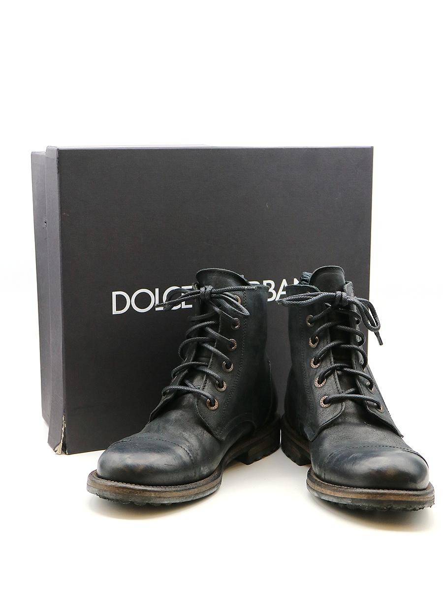 【中古】DOLCE&GABBANA ドルチェ&ガッバーナ 11AW レースアップレザーブーツ ブラック 7(25cm程度) メンズ