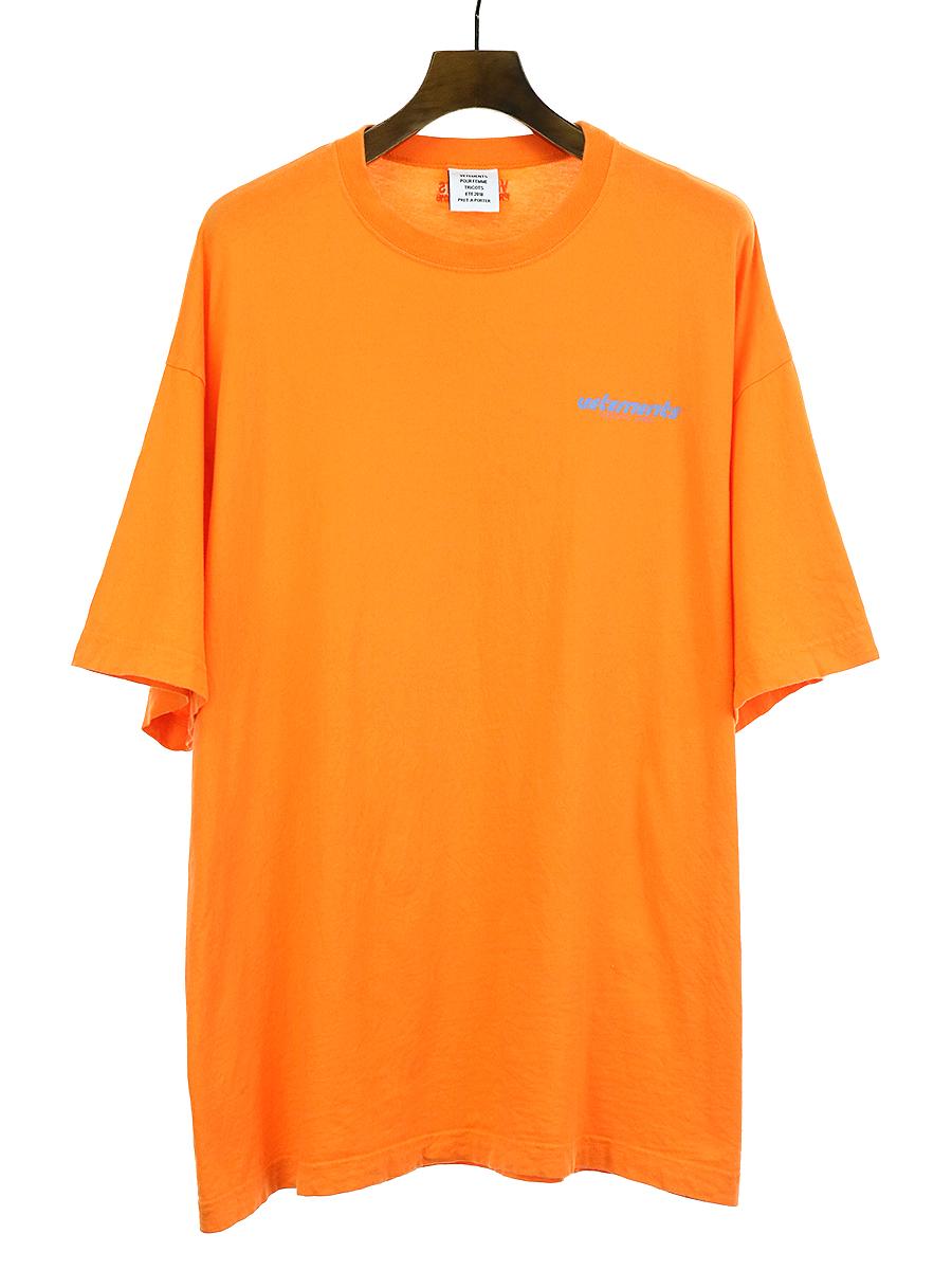 【中古】VETEMENTS ヴェトモン 18SS ロゴプリントオーバーサイズTシャツ オレンジ M メンズ