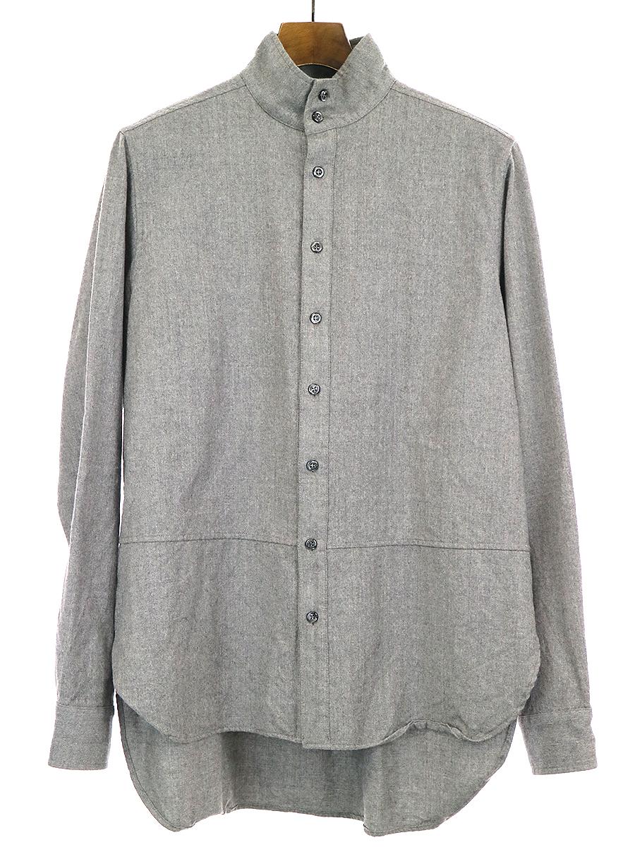 【中古】MAISON FLANEUR メゾン フラネウール ウールバンドカラーシャツ グレー 50 メンズ