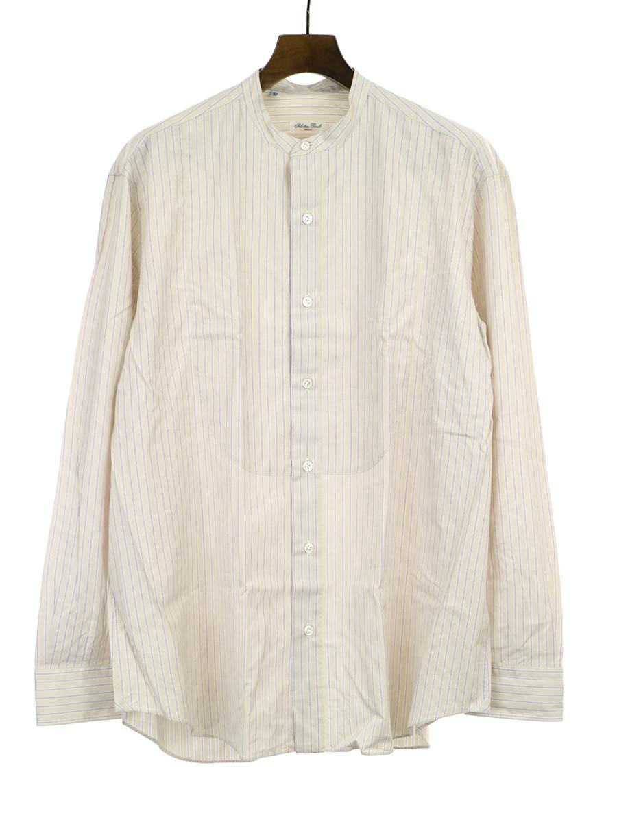 【中古】Salvatore Piccolo サルヴァトーレ ピッコロ バンドカラーストライプシャツ アイボリー 42 メンズ