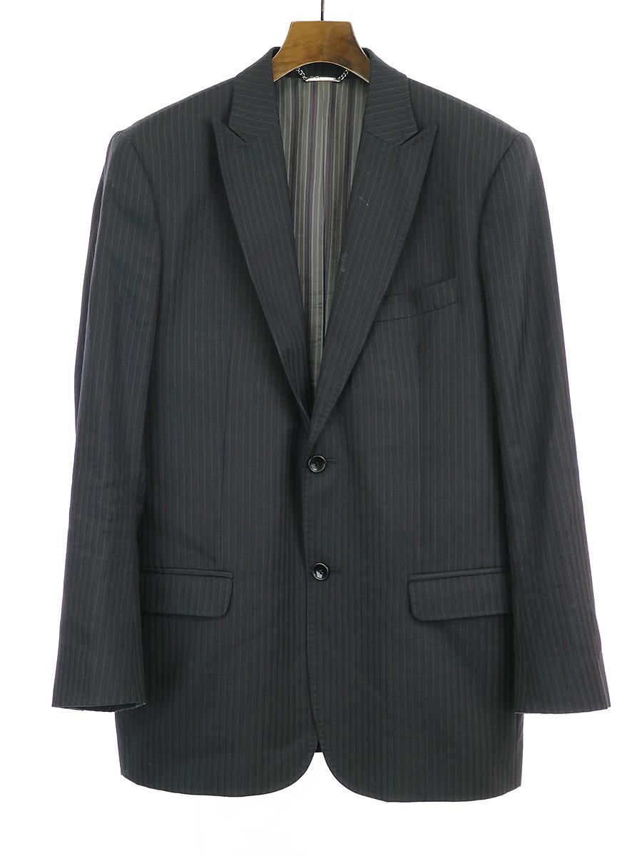 【中古】D&G ディーアンドジー ストライプテーラードジャケット ブラック 50 メンズ