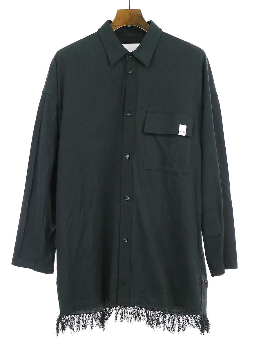 【中古】yoshio kubo ヨシオクボ 18AW フリンジテープシャツ ブラック 2 メンズ