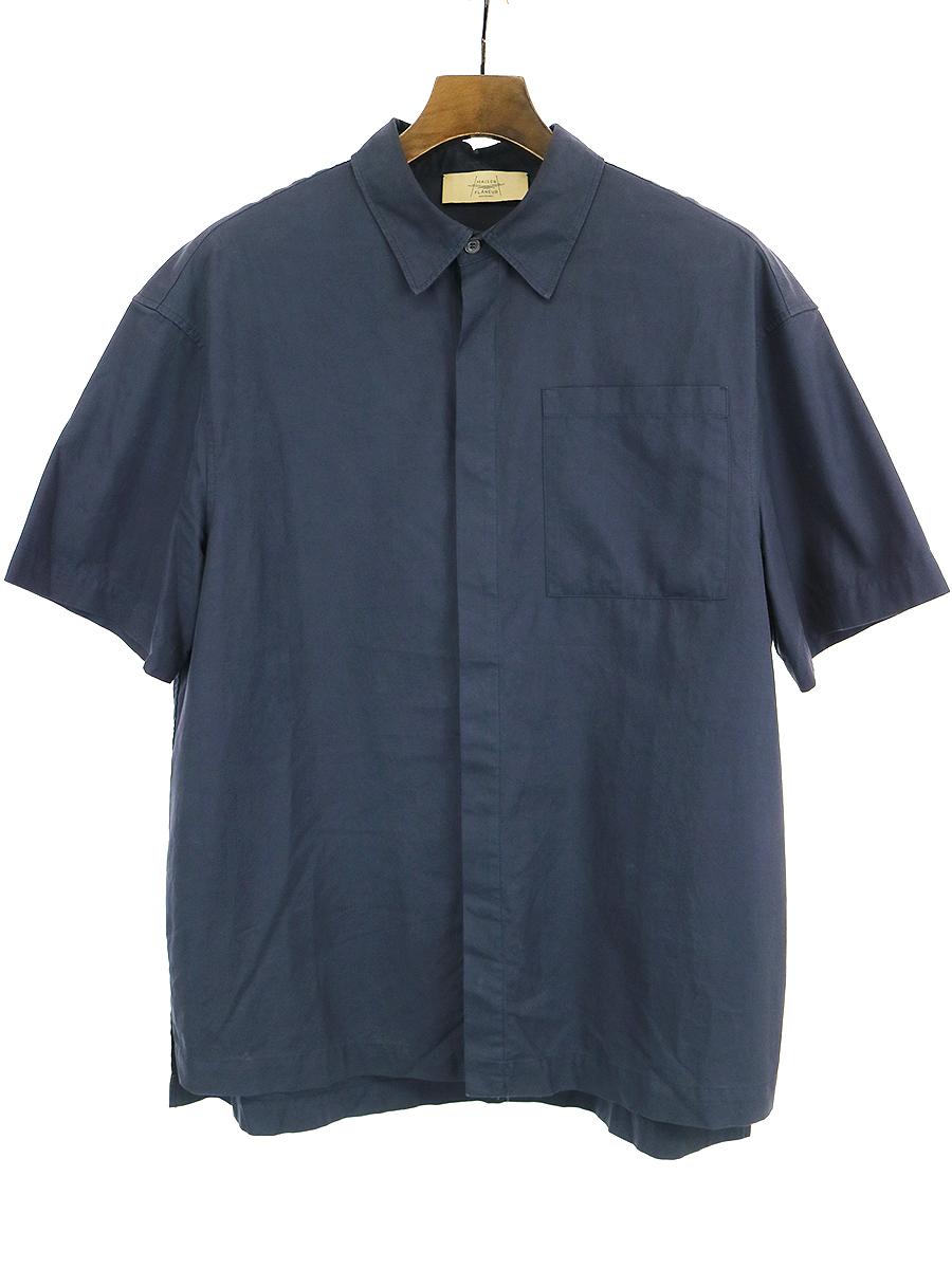 【中古】MAISON FLANEUR メゾン フラネウール コットンワイド半袖シャツ ネイビー 48 メンズ