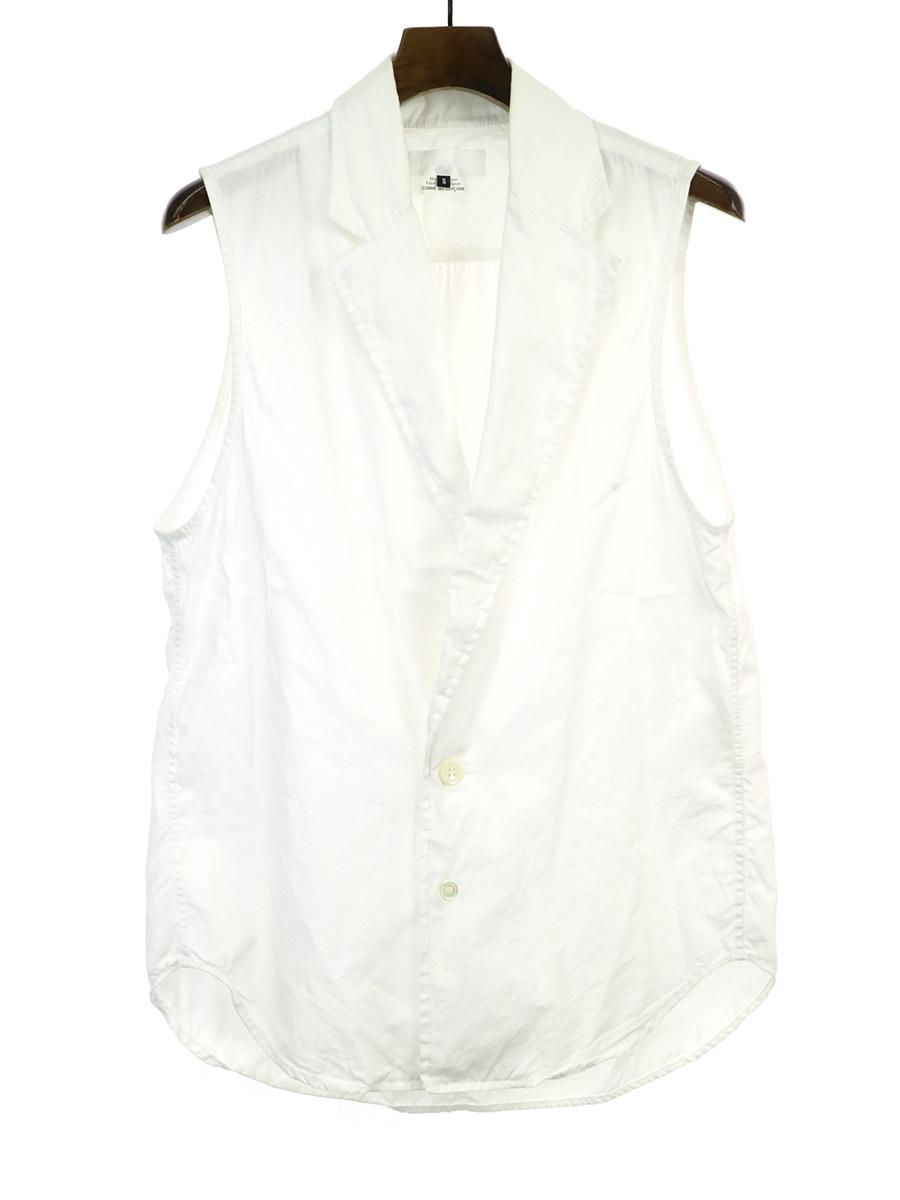 【中古】GANRYU ガンリュウ 異素材切替デザインシャツベスト ホワイト S メンズ