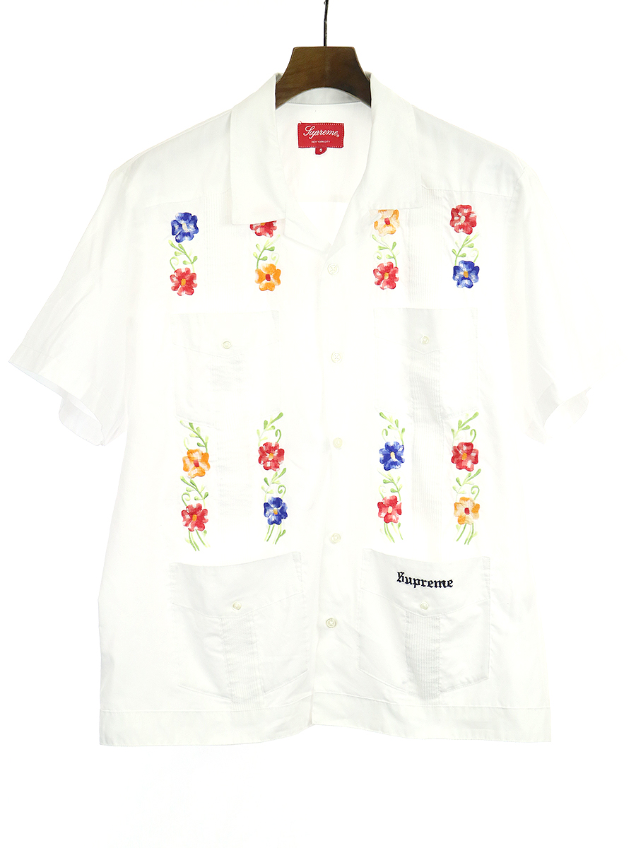 【中古】Supreme シュプリーム 19SS Flowers Guayabera S/S Shirt フラワー刺繍半袖シャツ ホワイト S メンズ