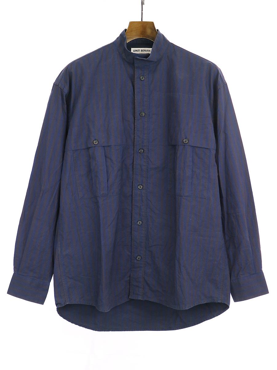 【中古】UMIT BENAN ウミットベナン スタンドカラーストライプシャツ ネイビー 44 メンズ