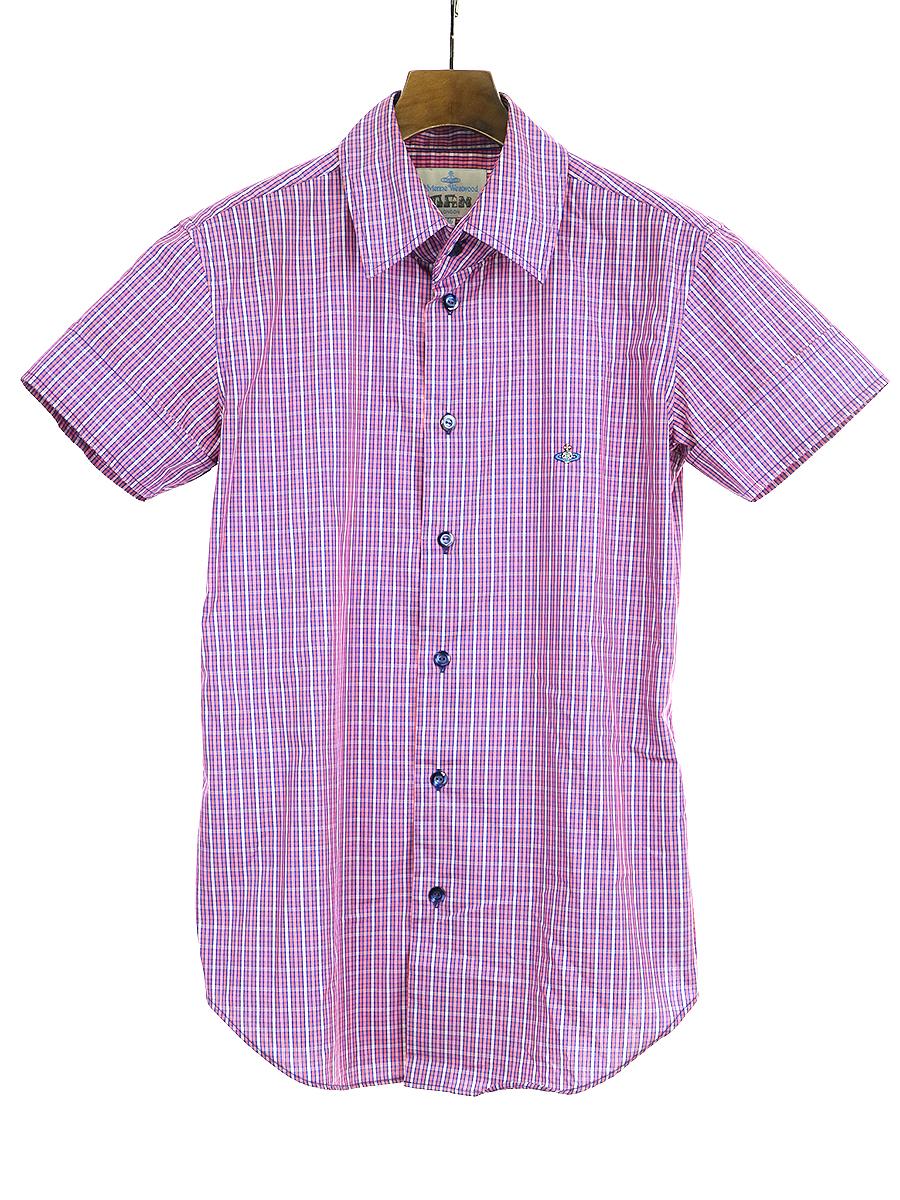 【中古】VivienneWestwood MAN ヴィヴィアンウエストウッド マン 半袖チェックシャツ ピンク 46 メンズ