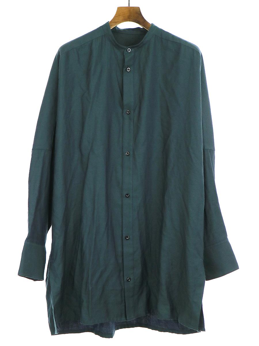 【中古】YANTOR ヤントル 16AW chambray long shirts ロングシャツ グリーン L メンズ