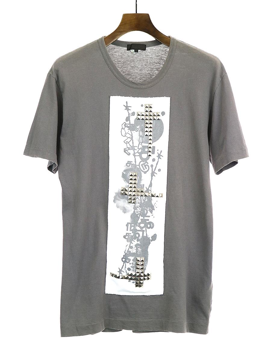 【中古】COMME des GARCONS HOMME PLUS コムデギャルソンオムプリュス 13SS スタッズ装飾Tシャツ チャコールグレー M メンズ