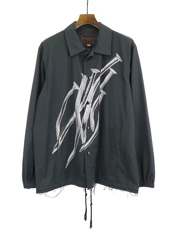 【中古】UNDER COVER アンダーカバー 05SS but beautiful期 ダメージ加工釘フォークプリントコーチジャケット ブラック 2 メンズ