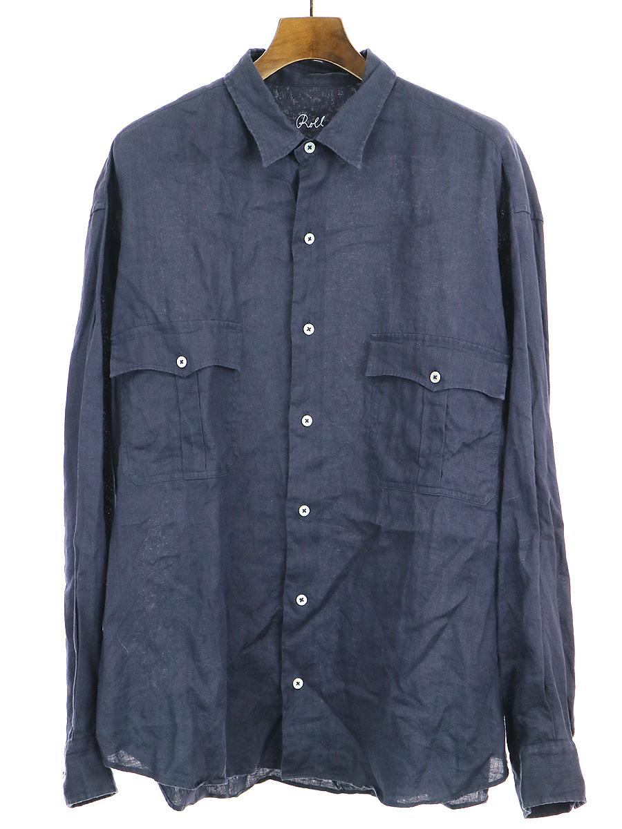 【中古】Porter Classic ポータークラシック ROLL UP LINEN SHIRT ロールアップリネンシャツ ネイビー XL メンズ