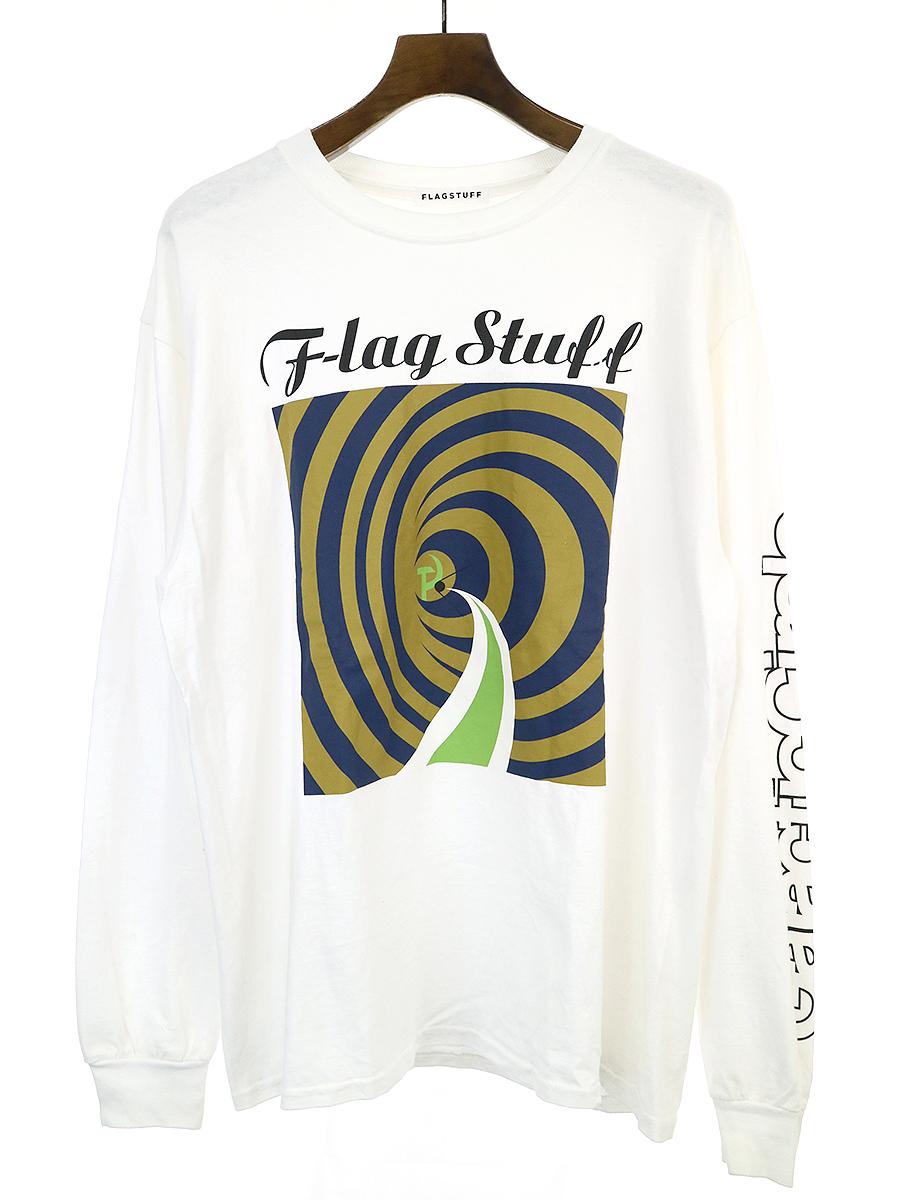 【中古】FLAGSTUFF フラッグスタフ 19AW ロングスリーブプリントTシャツ ホワイト メンズ