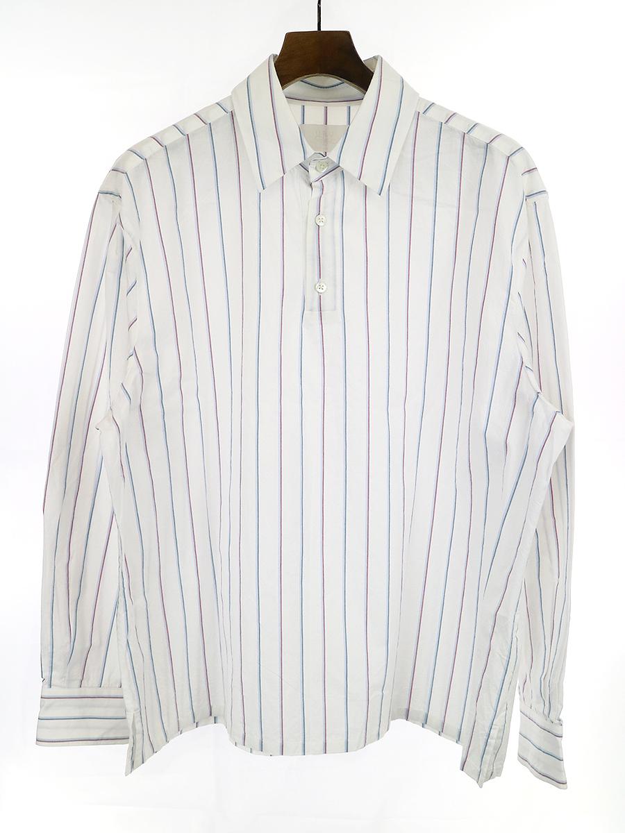 【中古】URU ウル 19SS COTTON PULLOVER SHIRTS プルオーバーストライプシャツ ホワイト 2 メンズ