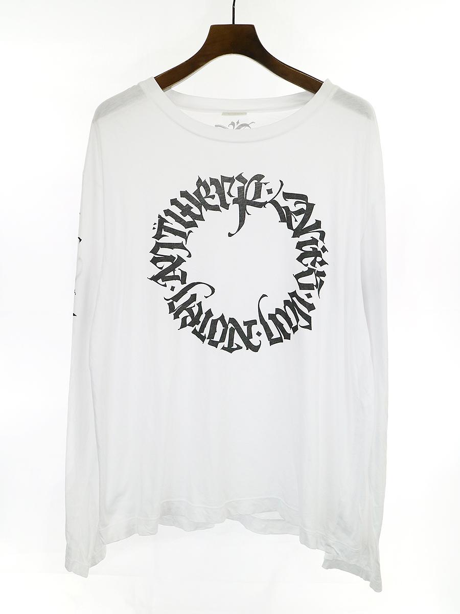 【中古】DRIES VAN NOTEN ドリスヴァンノッテン 17SS サークルロゴプリントロングスリーブTシャツ ホワイト XL メンズ