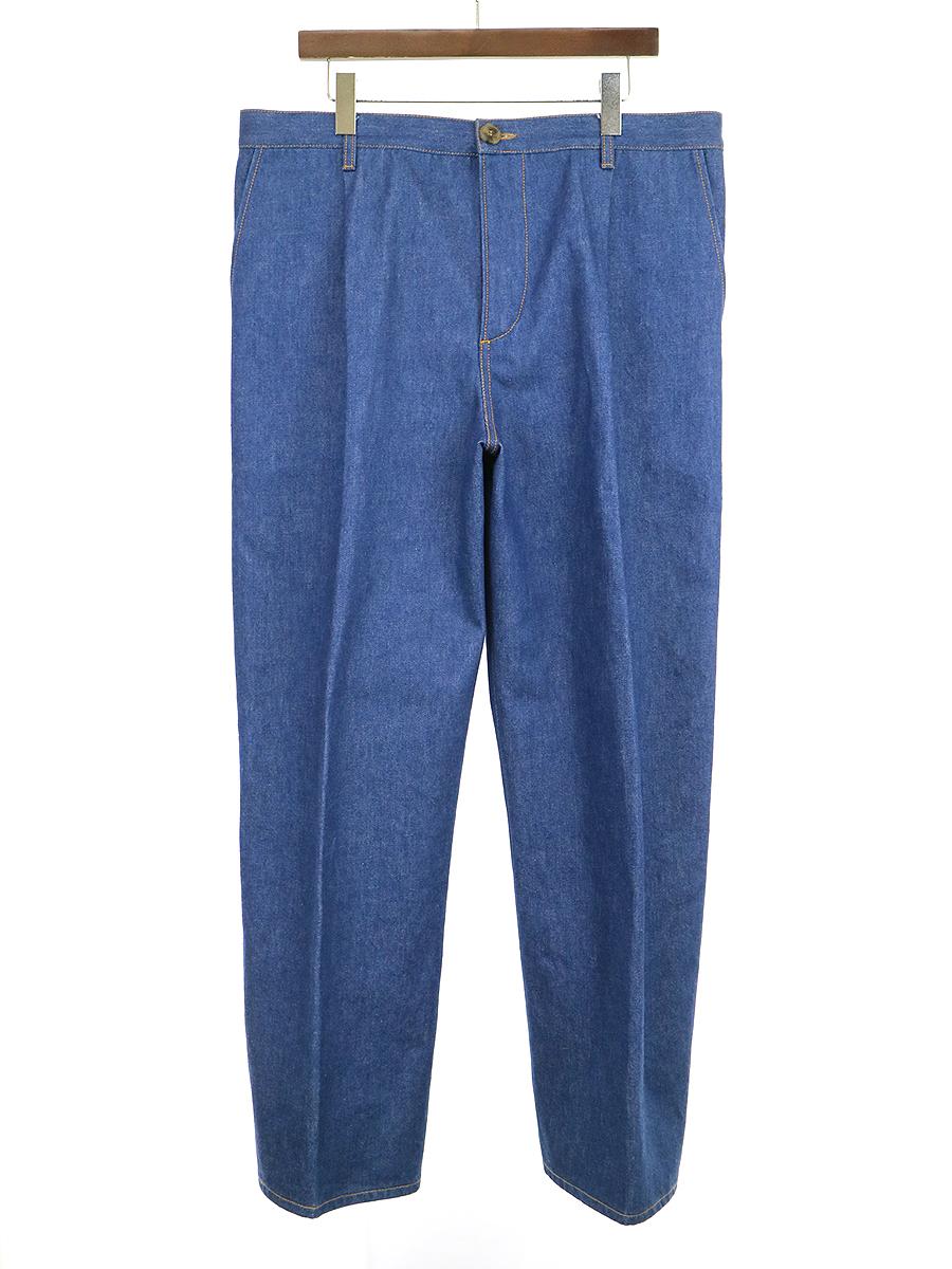 【中古】CristaSeya クリスタセヤ Japanese Heavy Denim Pleated Trousers プリーツワイドデニムパンツ インディゴ XL メンズ