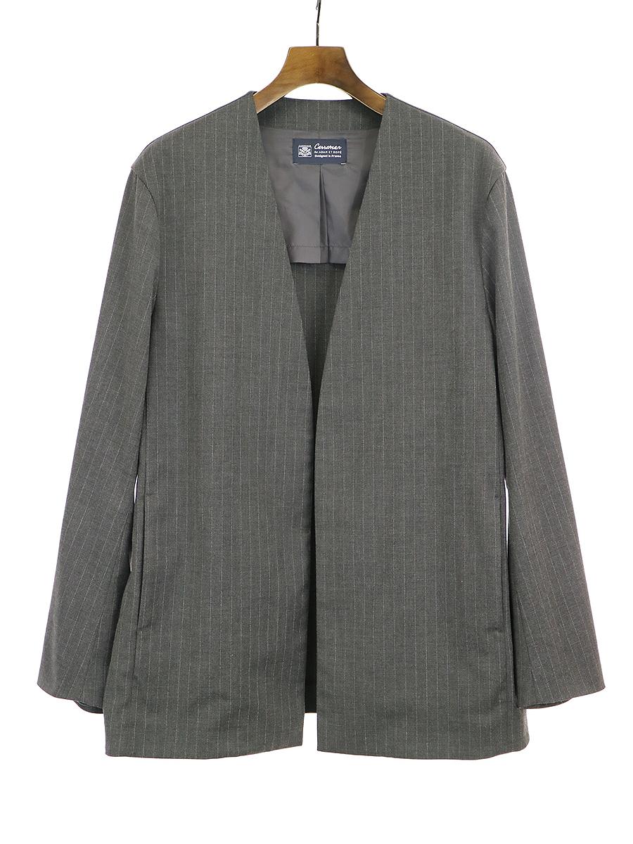 【中古】CARREMAN キャリーマン ピンストライプノーカラーセットアップスーツ グレー メンズ