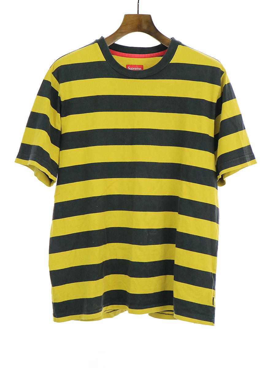 【中古】Supreme シュプリーム ボーダー柄Tシャツ イエロー XL メンズ