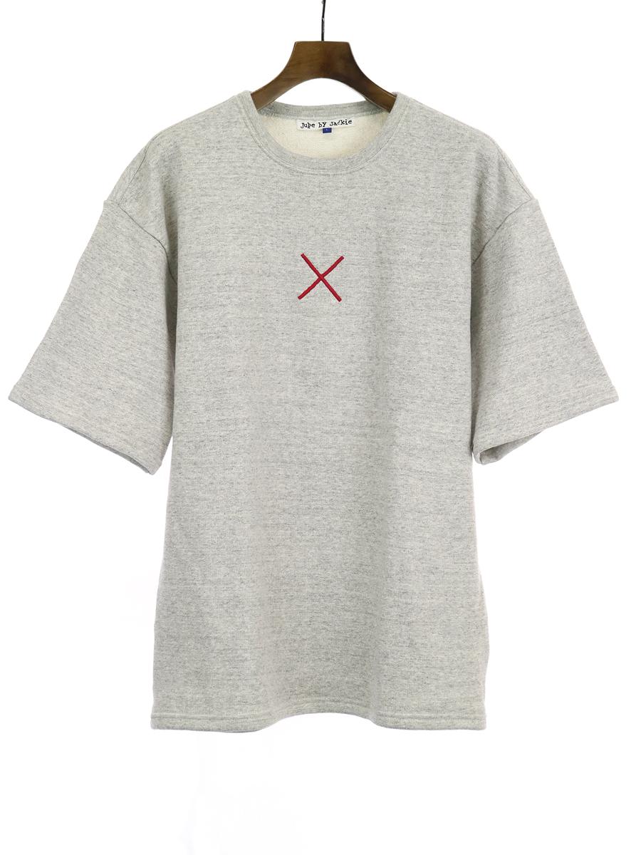 【中古】jupe-by-jackie ジュップバイジャッキー 刺繍半袖スウェットトレーナー グレー L メンズ