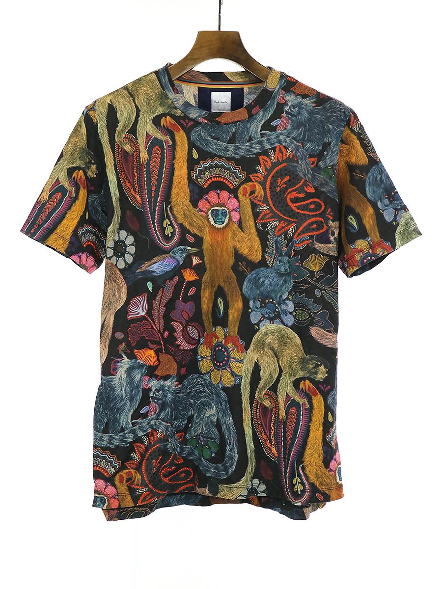 【中古】Paul Smith ポールスミス 17AW MONKEY ALL OVER T-SHIRT モンキープリントTシャツ マルチカラー M メンズ