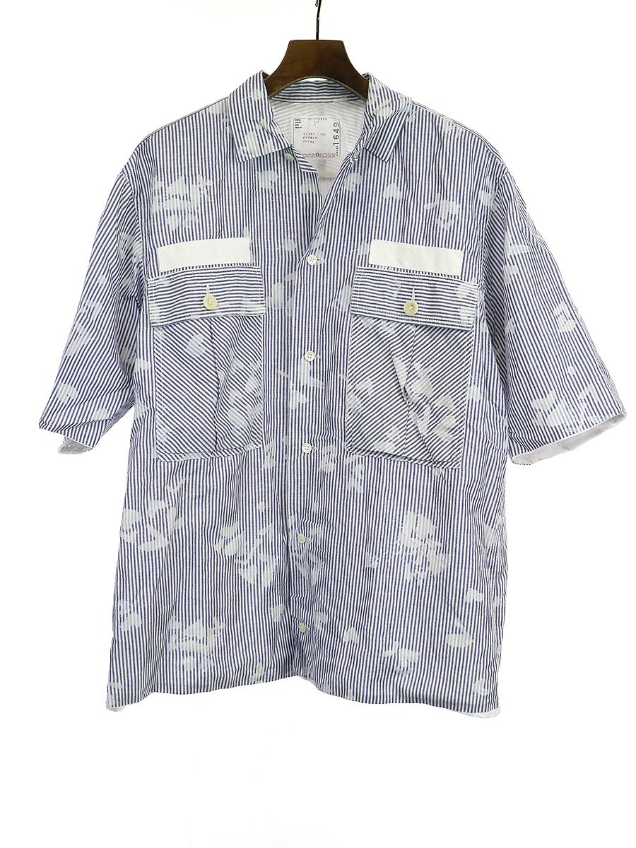 【中古】sacai サカイ 18SS ブリーチハートプリントストライプシャツ ブルー 3 メンズ