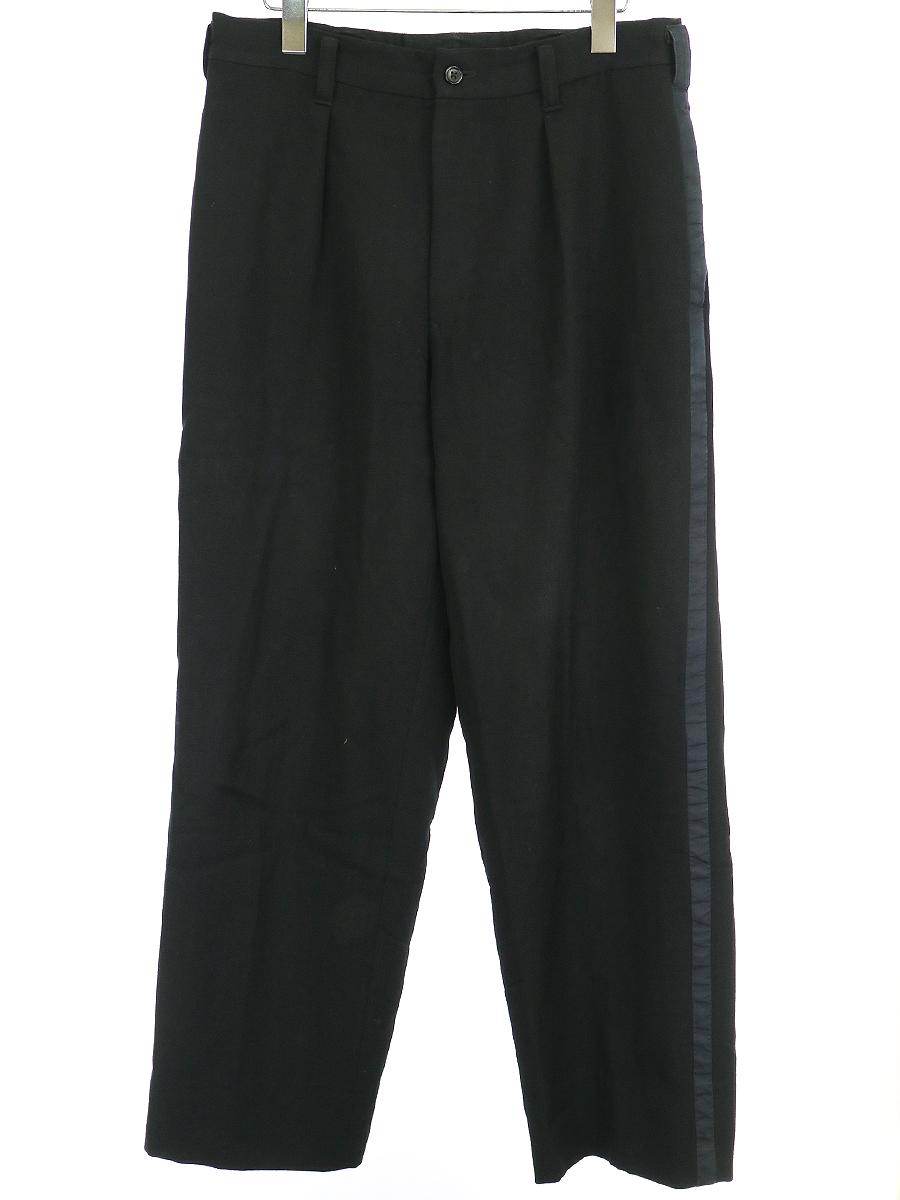 【中古】Y's for men ワイズ フォーメン 側章ウールワイドスラックスパンツ ブラック 3 メンズ