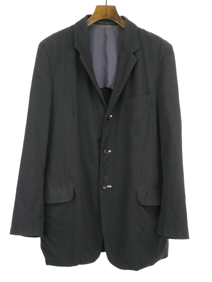 【中古】Y's for men ワイズフォーメン 04SS ウールギャバジンメッセージ刺繍ジャケット ブラック 2 メンズ