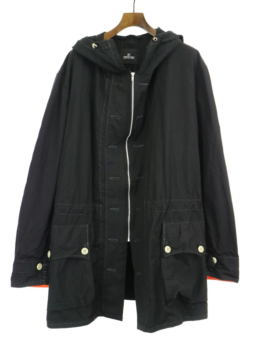 【中古】NOT CONVENTIONAL ノットコンベンショナル コットンフーデッドコート ブラック メンズ