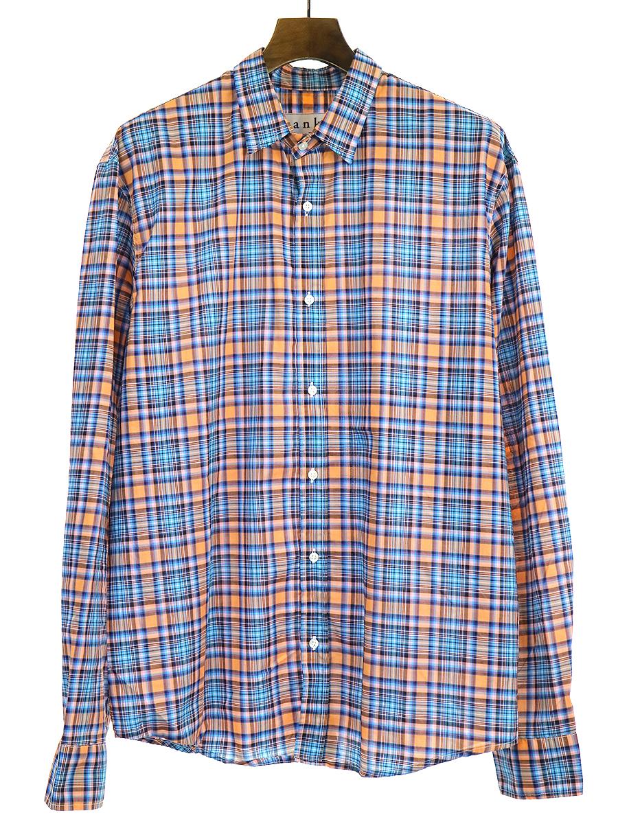 【中古】Frank&Eileen フランクアンドアイリーン 14AW PAUL ポプリンチェックシャツ ブルー L メンズ