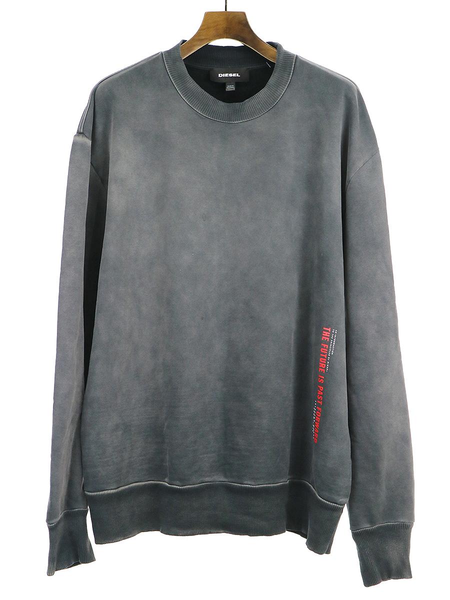 【中古】DIESEL ディーゼル 19SS S-BAY-YA ヴィンテージ加工クルーネックスウェットシャツ グレー XL メンズ