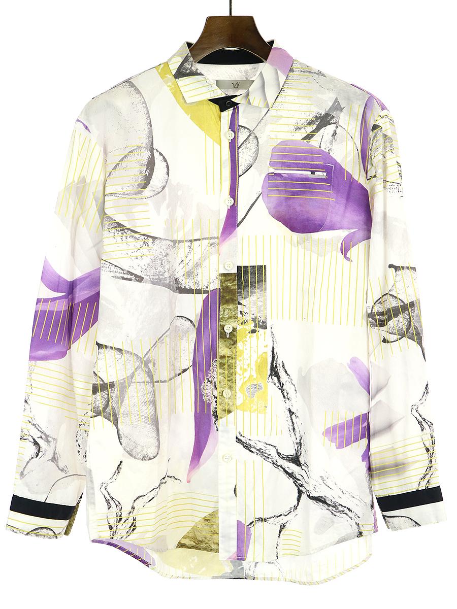 【中古】ohta オオタ 18SS ito shirts グラフィック総柄プリントコットンブロードシャツ アイボリー M メンズ