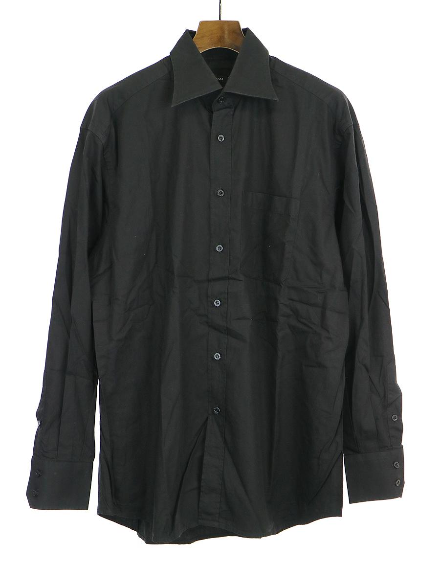 【中古】GUCCI グッチ ポケットコットン長袖シャツ ブラック 41 メンズ