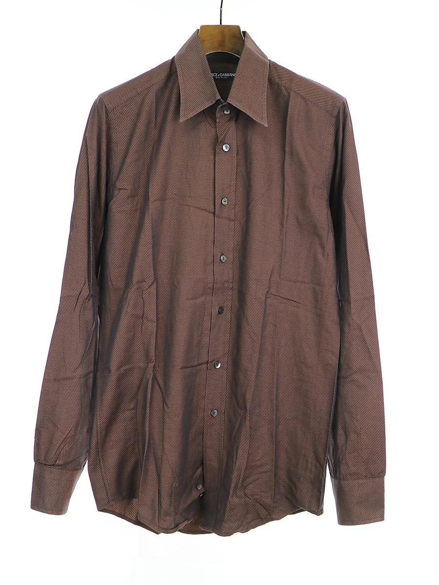 【中古】DOLCE&GABBANA ドルチェ&ガッバーナ ドレスシャツ ブラウン 39 メンズ