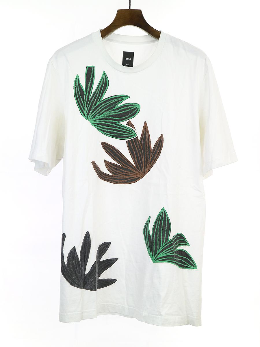 【中古】OAMC オーエーエムシー ボタニカルプリントTシャツ ホワイト XL メンズ