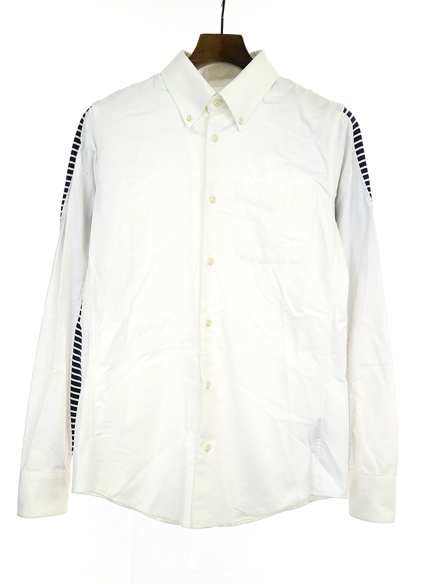【中古】1piu1uguale3 ウノピゥウノウグァーレトレ 3D B.D SHIRTS ボーダー切替ボタンダウンシャツ ホワイト 3 メンズ
