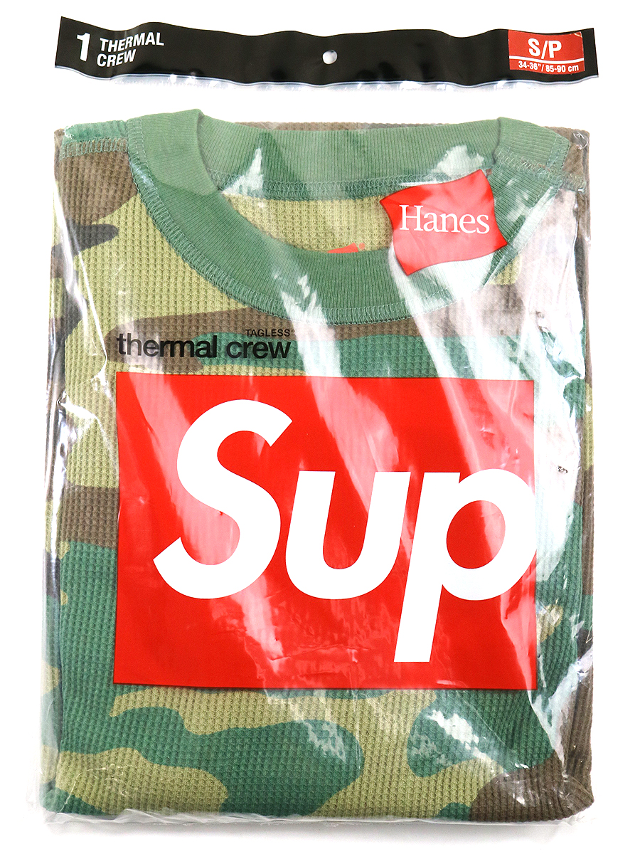 【中古】Supreme シュプリーム × Hanes ヘインズ 19AW Thermal Pant Wood I and Camo カットソー 迷彩 カーキ S メンズ