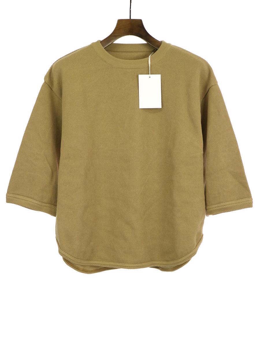 【中古】crepuscule クレプスキュール 19SS 7s round knit 七分袖ニットTシャツ カーキ 1 メンズ