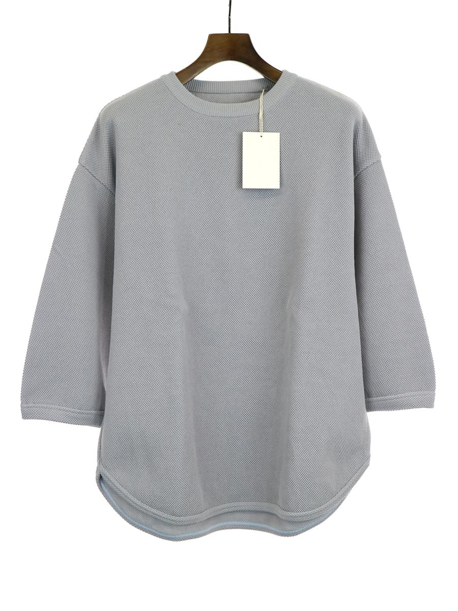 【中古】crepuscule クレプスキュール 19SS 7s round knit 七分袖ニットTシャツ ライトブルー 2 メンズ