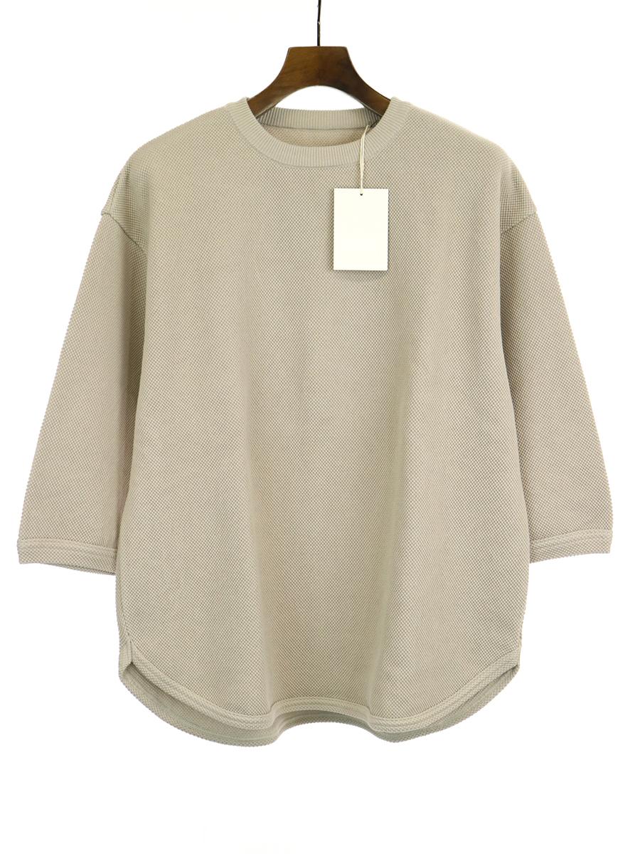 【中古】crepuscule クレプスキュール 19SS 7s round knit 七分袖ニットTシャツ ベージュ 1 メンズ