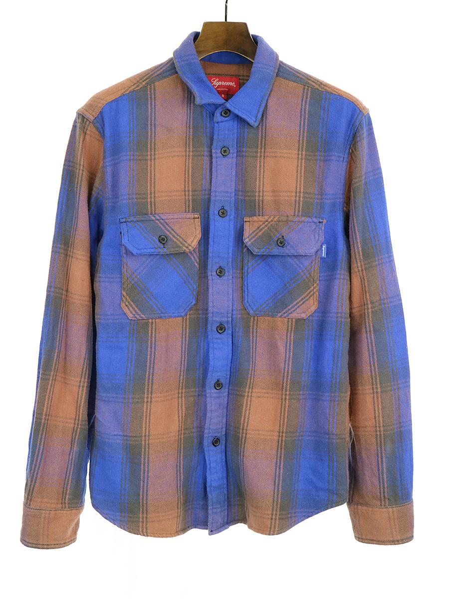 【中古】Supreme シュプリーム 19AW Heavyweight Flannel Shirt Dusty Black ヘビーウェイトフランネルチェックロングスリーブシャツ ブルー×ブラウン S メンズ