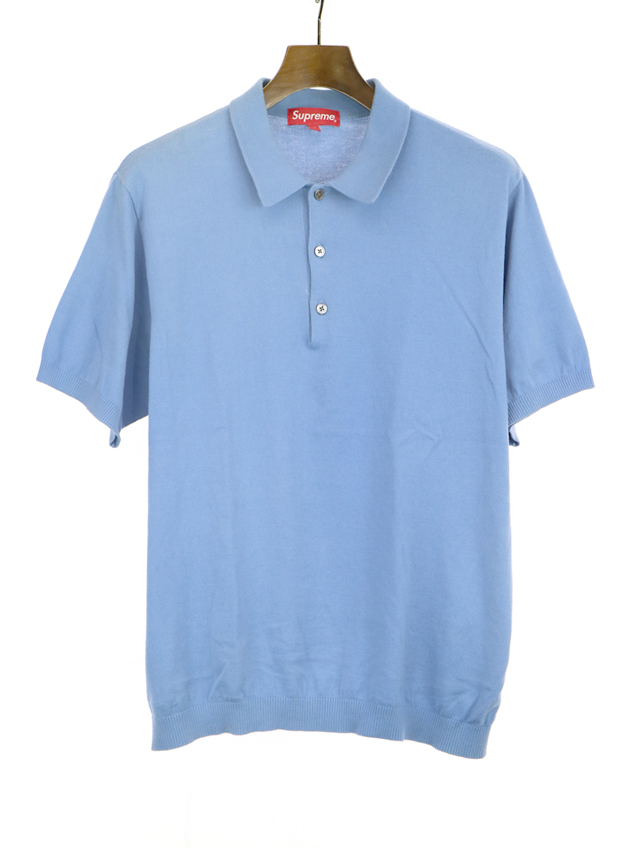 【中古】Supreme シュプリーム 18SS KNIT POLO ニットポロシャツ ブルー M メンズ