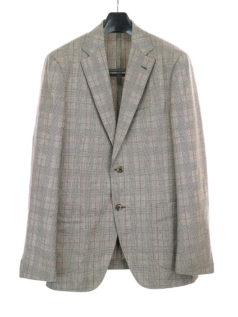 【中古】Belvest ベルベスト Barneys New York別注 グレンチェックウールセットアップスーツ グレー 48 メンズ