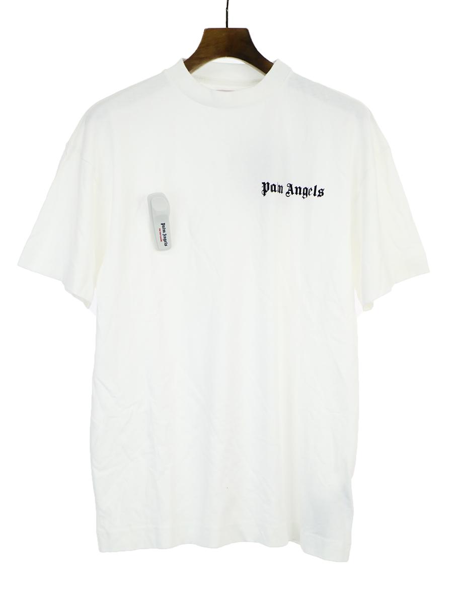 【中古】Palm Angels パームエンジェルス 18AW LOGO PIN T-SHIRT セキュリティータグTシャツ ホワイト S メンズ
