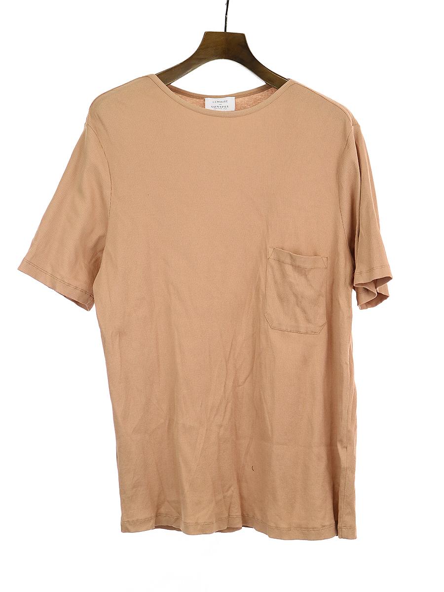 【中古】LEMAIRE×SUNSPEL ルメール×サンスペル 19AW コットンリブジャージーTシャツ ピンク M メンズ