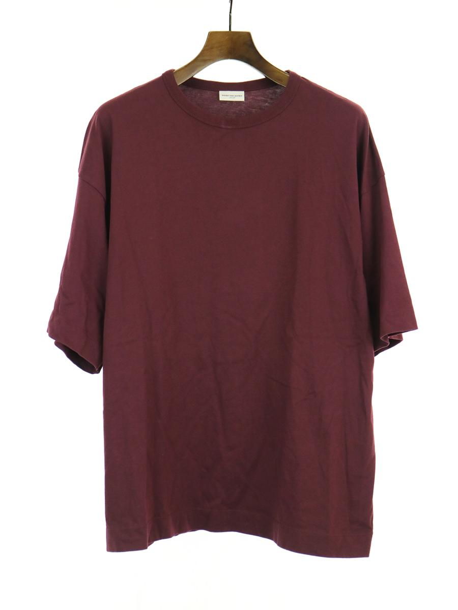 【中古】DRIES VAN NOTEN ドリスヴァンノッテン 19AW オーバーサイズクルーネックTシャツ バーガンディ S メンズ
