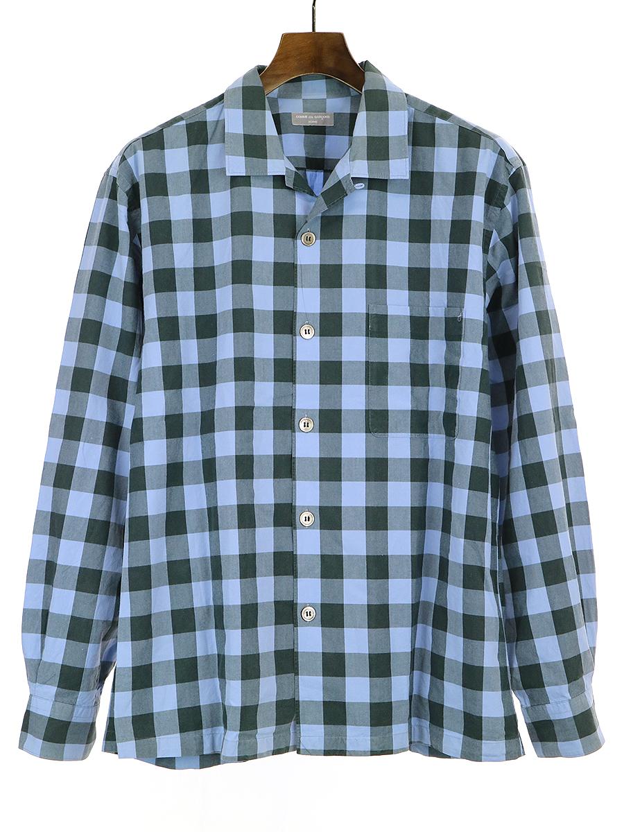 【中古】COMME des GARCONS HOMME コムデギャルソン オム 01SS ブロックチェックオープンカラーシャツ ブルー サイズ表記無し メンズ