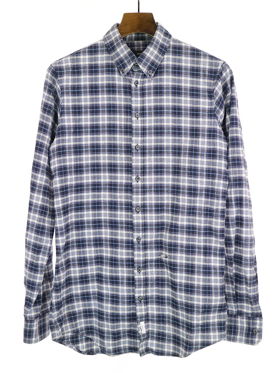 【中古】DSQUARED2 ディースクエアード 13AW チェック柄コットンネルシャツ ブルー 46 メンズ