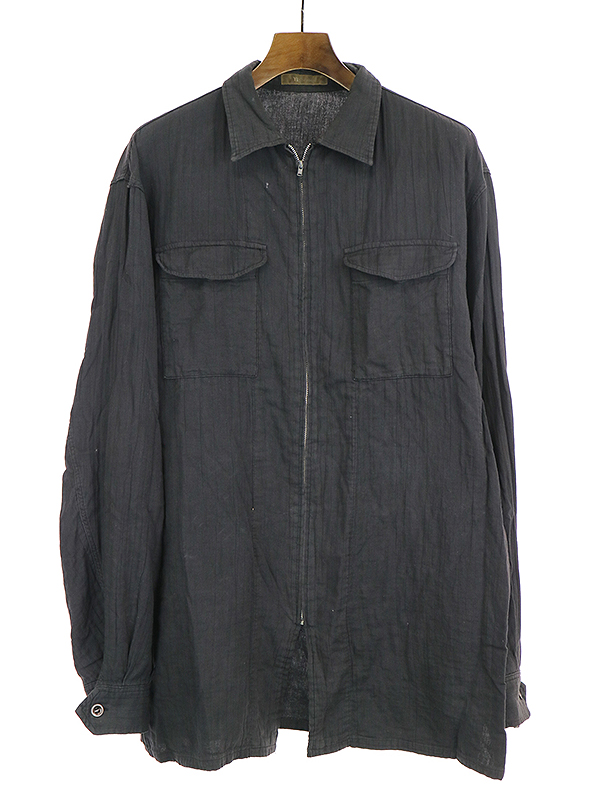 【中古】Y's for men ワイズ フォーメン ジップアップロングスリーブシャツ ブラック メンズ